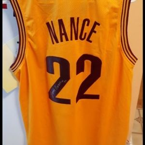 Yellow autographed #22 larry nance Jersey